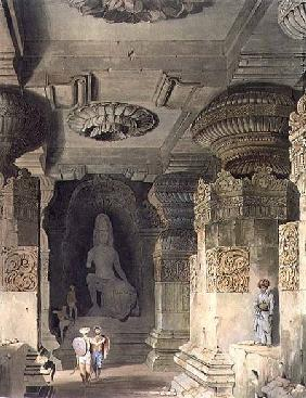 Interior of the Cave Temple of Indra Subba at Ellora, from Volume II of 'Scenery, Costumes and Archi
