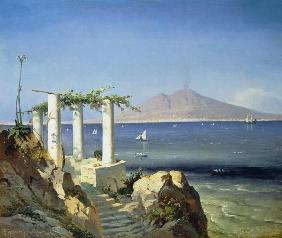 Look from Capri over the bay of Naples to the Vesu