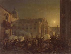 The Burning of Catania after the Town's Conquest by the Bern Regiment in 1849, 1849 (oil on canvas)