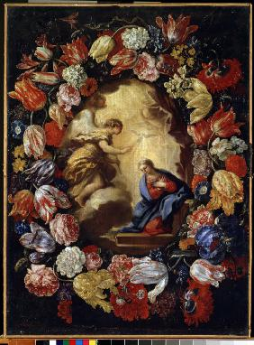 The Annunciation with flowers