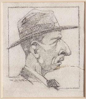 A Man wearing a Hat (pencil on paper)