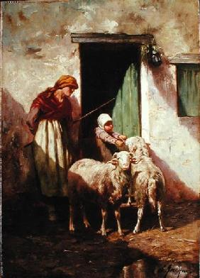 Shepherdess with a Child and Two Sheep