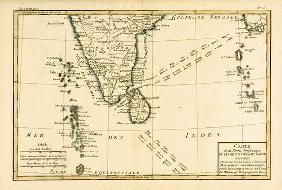 Southern India and Ceylon, from 'Atlas de Toutes les Parties Connues du Globe Terrestre' by Guillaum