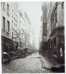 Rue de la Grande Truanderie, from the rue Montorgueil, Paris, 1858-78 (b/w photo)