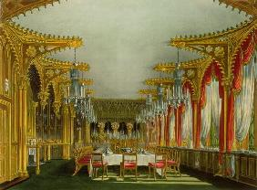 The Gothic Dining Room at Carlton House from Pyne's 'Royal Residences' engraved by Thomas Sutherland
