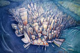 Manhattan from Above, 1994 (oil on canvas)