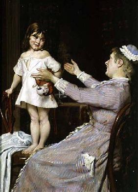 Little Girl with a Doll and Her Nurse