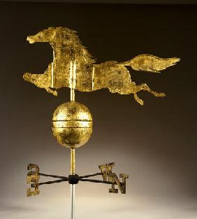 A Gilded Sheet Iron Weathervane In The Form Of A Galloping Horse