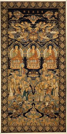 A Rare Six Brocade Hanging Of The Buddhist Paradise, Lampas