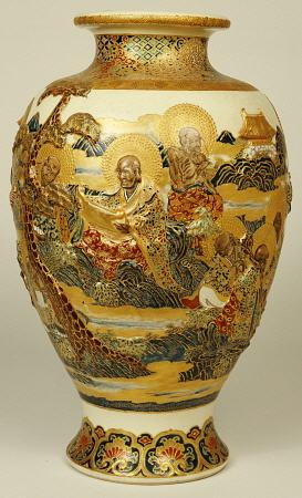 A Satsuma Moulded Baluster Vase Decorated With Various Sages And Scholars