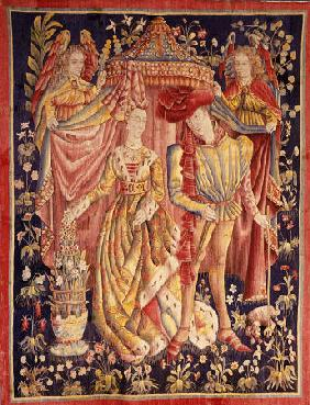 Artist Artist Christies - A Tournai Betrothal Tapestry Depicting A Man And Woman In Fine Dress Beneath A Canopy Held Back By T