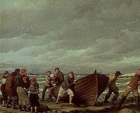 Fishermen from Hornbaek bring her boat to country.