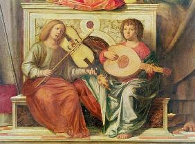 Detail of angel musicians from a painting of the Virgin and saints, 1496-99