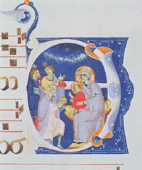 Ms 561 f.37r Historiated initial 'O' depicting the Adoration of the Magi, from a gradual from the Mo