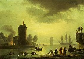 Seaport into evening atmosphere with lighthouse