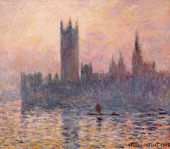 El Parlamento de Londres bajo la caída del sol.