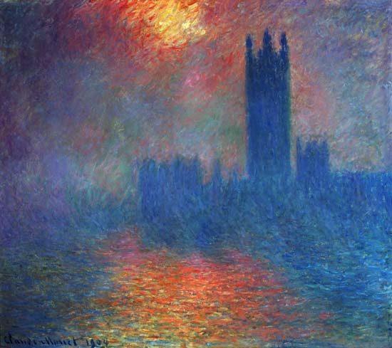 El Parlamento de Londres, con el sol penetrando en la neblina
