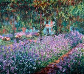 Blooming Iris in Monets garden 1900