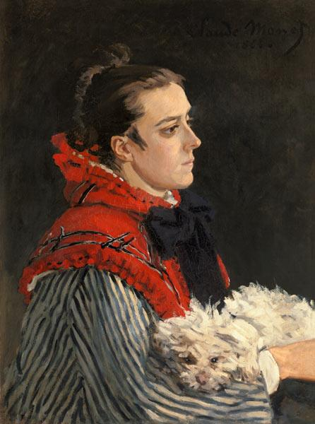 Camille Monet with dog. 1866