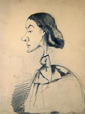 Young Woman at the Piano, 1855-60 (black crayon heightened with white pastel on paper)