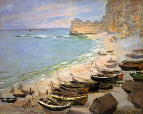 Boats on the beach of Etretat. 1883