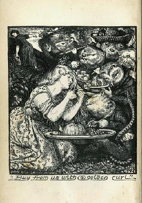 "Frontispiece of ""Goblin Market and Other Poems"" by Christina Rossetti"