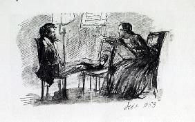 Rossetti being sketched Elizabeth Siddal, September 1853