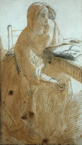 Lizzie Siddal (1832-62) (pen & ink and w/c on paper)