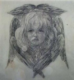 Study for the head of a child angel in 'The Blessed Damozel'