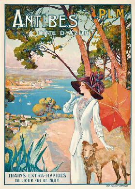 Poster advertising travel to the Antibes, Cote d'Azur, with the French railway company P.L.M