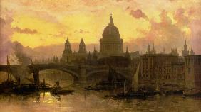 David Roberts - Evening over London, look over the Thames on piece