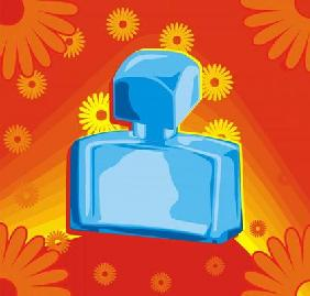 Perfume bottle on red background