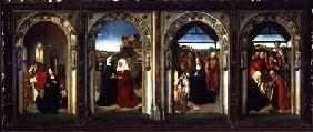 Triptych showing the Annunciation, the Visitation, the Adoration of the Angels and the Adoration of