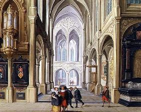 Elegant Figures in a Gothic Church, 17th century 99;interior; ecclesiatical; architecture; architect
