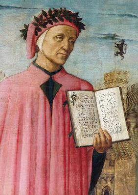 Dante reading from the 'Divine Comedy', detail of Dante Alighieri (1265-1321)
