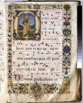 Ms 540 f.3r Page with historiated initial 'M' depicting St. Andrew, from a choir book from San Marco