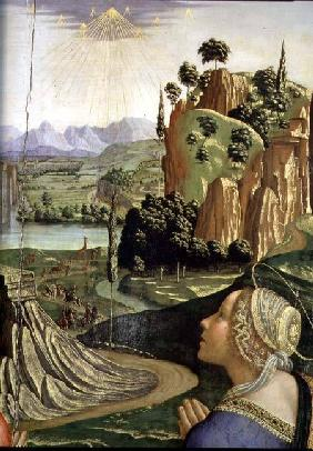 Christ in Glory with saints, detail of the landscape