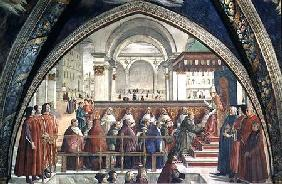 St. Francis receiving the Rule of the Order from Pope Honorius, scene from a cycle of the Life of St