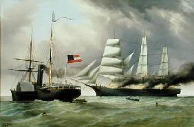 C.S.S. Nashville capturing and burning the English Merchantman 'Harvey Birch'
