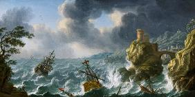 Shipwreck in a storm off a rocky coast