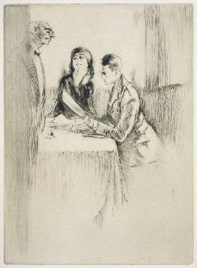 A couple ordering their meal, illustration for Mitsou by Sidonie-Gabrielle Colette
