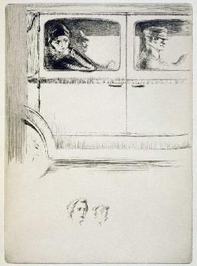 A couple in a chauffeur driven car, illustration for Mitsou by Sidonie-Gabrielle Colette