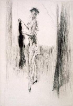 A woman dressing in front of a mirror, illustration for Mitsou by Sidonie-Gabrielle Colette