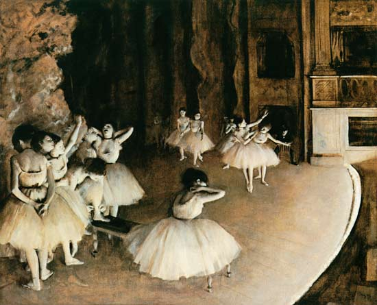 Edgar Degas - Dress rehearsal of the ballet on the stage