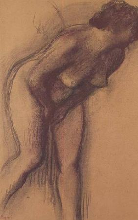 Female Standing Nude (charcoal and pastel)