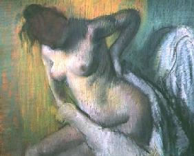 Woman drying herself (pastel)