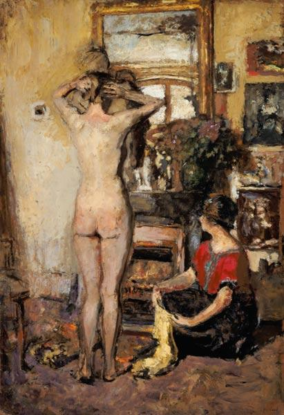 Woman act in front of mirror