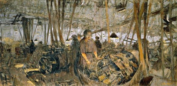 Interior of a Munitions Factory: The Forge, 1916-17 (tempera on canvas)