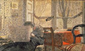 The Newspaper Reader, c.1896-98 (oil on board)