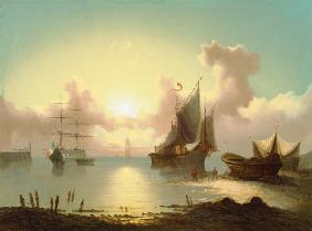 Sailing ships with sunset and fisherman when retra